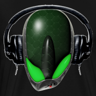 Design ~ Green Angry (Pissed Off) Reptile Alien in DJ Headphones