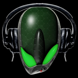 Green Reptoid Alien Pissed Off DJ in Headphones