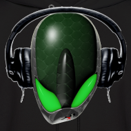 Design ~ Green Reptoid Alien  Pissed Off DJ in Headphones