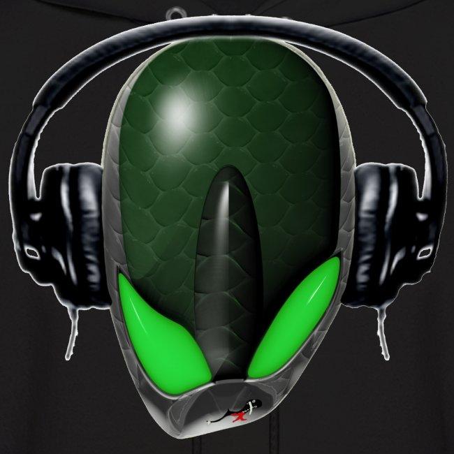Green Reptoid Alien {Angry} Pissed Off DJ in Headphones