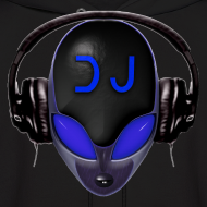 Design ~ Alien DJ - Blue - Hard Shell Bug - Mens Hoodie