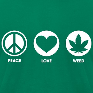 Peace Love Weed T-Shirts - Men's T-Shirt by American Apparel