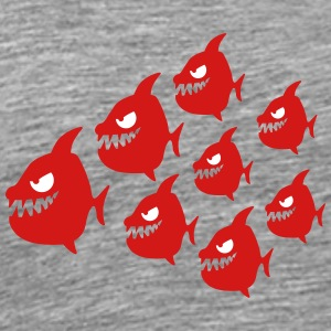 Funny Evil Comic Piranha Fish Swarm T-Shirts - Men's Premium T-Shirt
