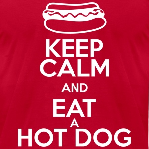 KEEP CALM AND EAT A HOT DOG T-Shirts - Men's T-Shirt by American Apparel