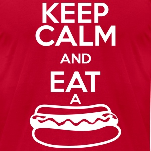 KEEP CALM AND EAT A HOT DOG T-shirts - T-shirt pour hommes American Apparel