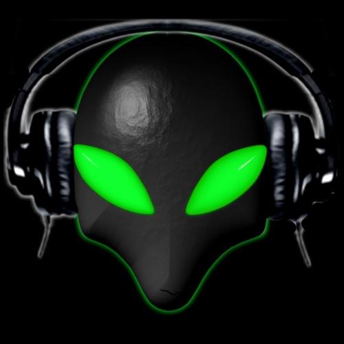 Alien Bug Face Green Eyes in DJ Headphones