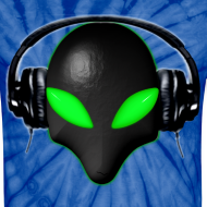 Design ~ Alien Bug Face Green Eyes in DJ Headphones