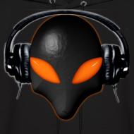 Design ~ Alien Bug Face Orange Eyes in DJ Headphones