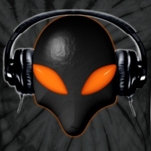 Alien Bug Face Orange Eyes in DJ Headphones - Unisex Tie Dye T-Shirt