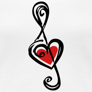Note music heart classic, treble clef, violin Women's T-Shirts - Women's Premium T-Shirt