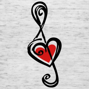 Note music heart classic, treble clef, violin Tanks - Women's Flowy Tank Top by Bella