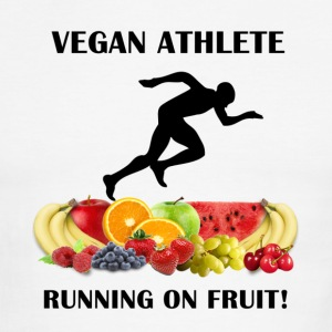 Vegan Athlete Man Running on Fruit Men's Ringer T- - Men's Ringer T-Shirt