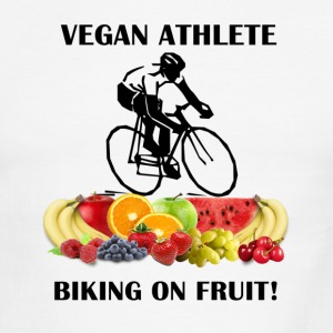 Vegan Athlete Biking on Fruit Men's Ringer T-Shirt - Men's Ringer T-Shirt