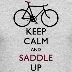 Keep Calm and Saddle Up grey shirt - Men's Long Sleeve T-Shirt by Next Level