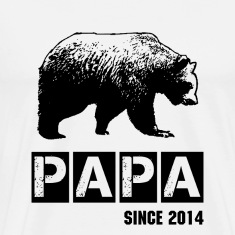 grunge papa bear in black for dad T-Shirts