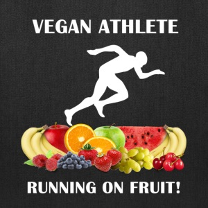 Vegan Athlete Man Running on Fruit 2 Tote Bag - Tote Bag