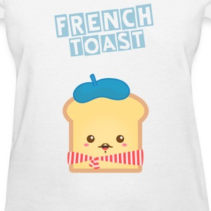 cute French toast with blue beret hat Women's T-Shirts - Women's T-Shirt