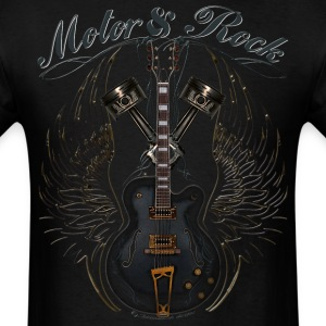 motor and rock v2 pistons guitar wings T-Shirts - Men's T-Shirt