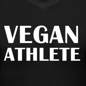 Vegan Athlete front Vegan Athlete Biking on Fruit  - Women's V-Neck T-Shirt