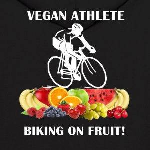 Vegan Athlete front Vegan Athlete Biking on Fruit  - Men's Hoodie