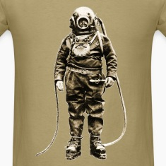 Vintage Diver with Diving Helmet and Equipment