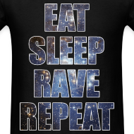 Design ~ Eat Sleep Rave Repeat Stars Lightweight T Shrit