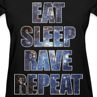 Design ~ Eat Sleep Rave Repeat Stars Girls Womens T Shrit