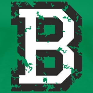 Letter B T-Shirt (Women Green) Black/White - Women's Premium T-Shirt