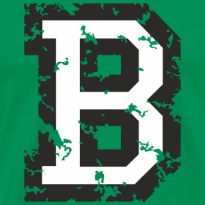 Letter B T-Shirt (Men Green) Black/White - Men's Premium T-Shirt