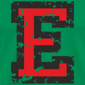 Letter E (Distressed) Black/Red