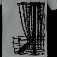 Design ~ Disc Golf Basket Shirt - Black Print - Menn's Fitted Shirt