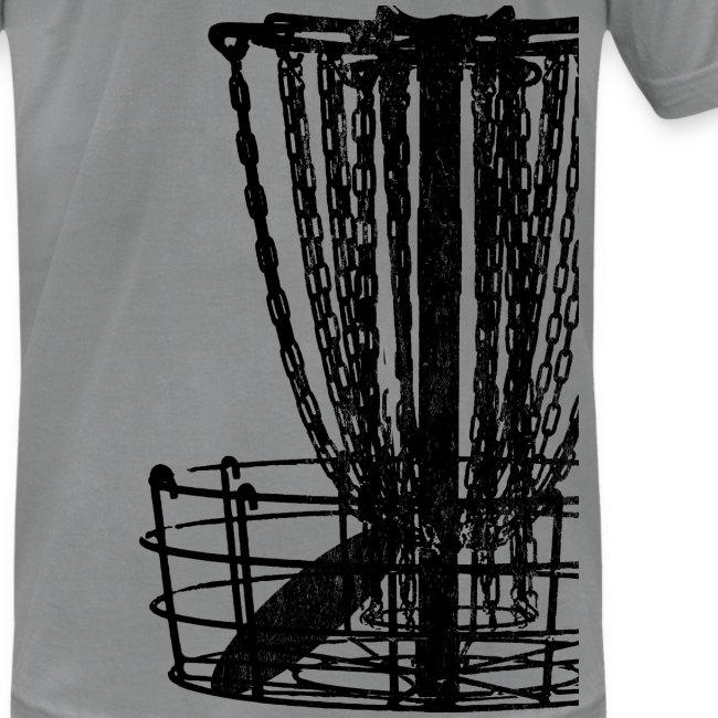 Disc Golf Basket Shirt - Black Print - Menn's Fitted Shirt