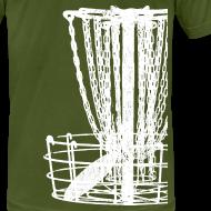 Design ~ Disc Golf Basket Shirt - White Print - Men's Fitted Shirt