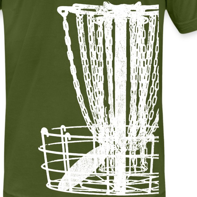 Disc Golf Basket Shirt - White Print - Men's Fitted Shirt