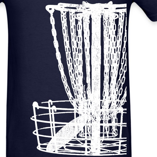 Disc Golf Basket Shirt - White Print - Men's Standard Weight Shirt