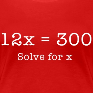 Bowling Math Equation. 12x = 300. Solve for X.  Women's T-Shirts - Women's Premium T-Shirt
