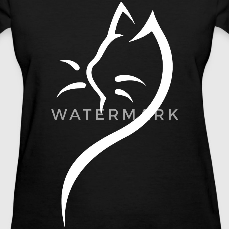 Cat Silhouette Outline Women's T-Shirts - Women's T-Shirt