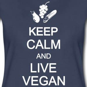 keep calm healthy live eat vegan vegetarian Women's T-Shirts - Women's Premium T-Shirt