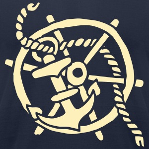ship steering wheel vintage tattoo anchor sailing  T-Shirts - Men's T-Shirt by American Apparel