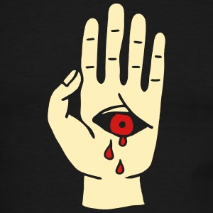 bloody cry eye hand cry mysterious mystical horror T-Shirts - Men's Ringer T-Shirt