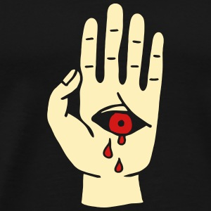 bloody cry eye hand cry mysterious mystical horror T-Shirts - Men's Premium T-Shirt