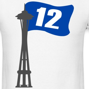 Seahawks 12th MAN FLAG Seattle Space Needle Shirt - Men's T-Shirt