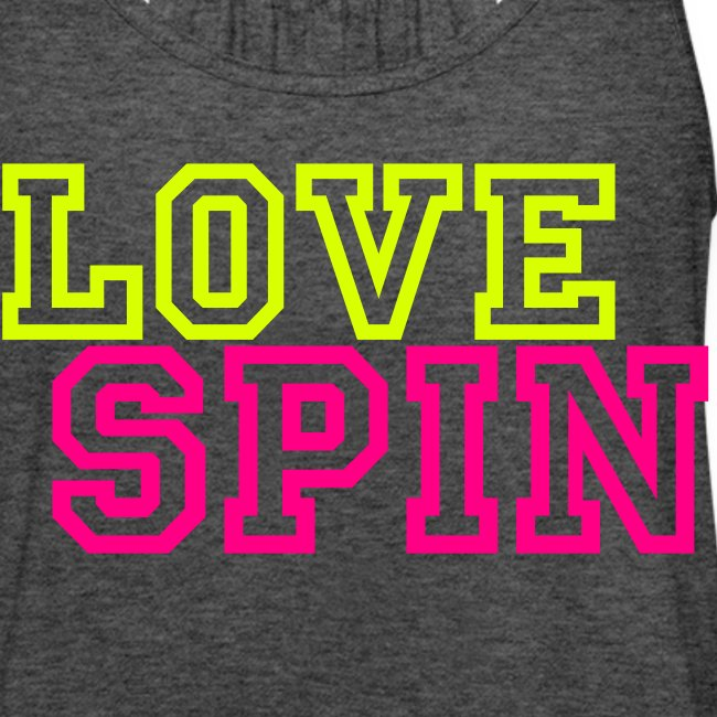 """LOVE SPIN ladies flowy tank """"Spinna"""" on back"""