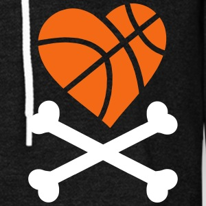 basketball heart and crossbones Zip Hoodies & Jackets - Unisex Fleece Zip Hoodie by American Apparel