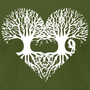 valentine's day tree heart love roots couple kiss  T-Shirts - Men's T-Shirt by American Apparel