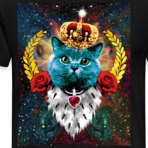01 Blue Cat King Queen Crown Roses Love Heart Luxu - Men's Premium T-Shirt