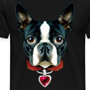 02 Boston Terrier I LOVE MY DOG DOGS Heart  Design - Men's Premium T-Shirt