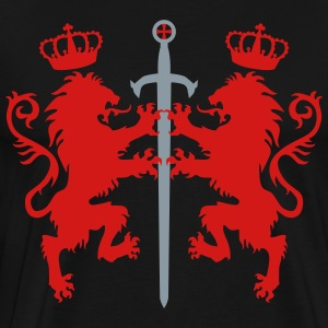 Lions Sword Crusaders Crown King heraldic animal - Men's Premium T-Shirt