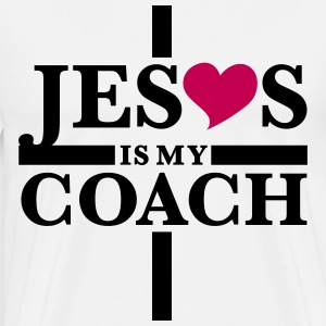 Jesus Christ is my coach cross heart Love T-Shirt - Men's Premium T-Shirt
