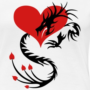 Tattoo Fire Love Dragon through the heart valentin - Women's Premium T-Shirt